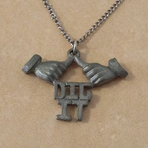 "Vintage 1976 Pewter "" Dig It"" Thumbs Up Necklace"